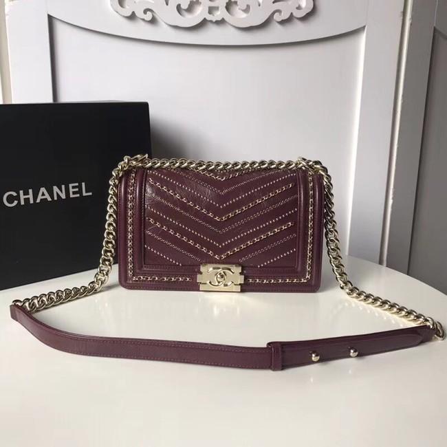 BOY CHANEL Handbag Crumpled Calfskin & Gold-Tone Metal A67086 Burgundy