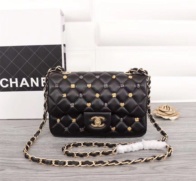 Chanel Classic Sheepskin Leather cross-body bag A1116 black Gold-Tone Metal