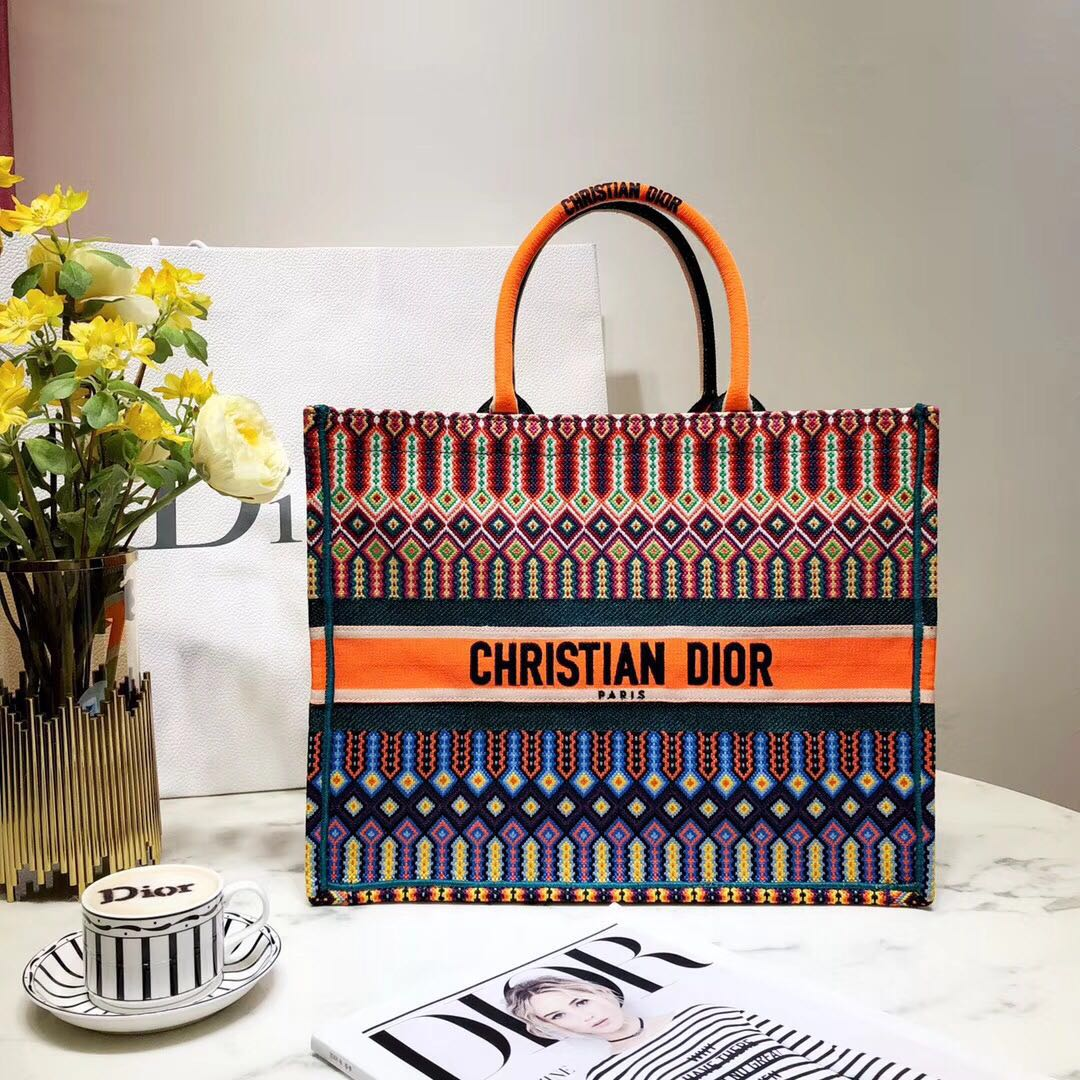 DIOR BOOK TOTE BAG IN MULTI-COLOURED EMBROIDERED CANVAS M1286