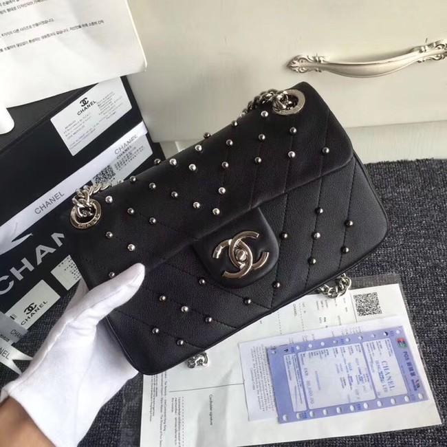 d1474f44113f Chanel flap bag Shearling Lambskin & Ruthenium-Finish Metal Y83868 black