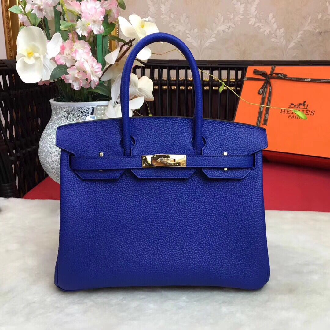7ddac1e090b Hermes Birkin Tote Bag Original Leather BK35 blue