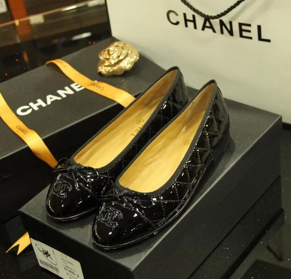 Chanel Patent Leather Ballerina Flat CH1073 Black