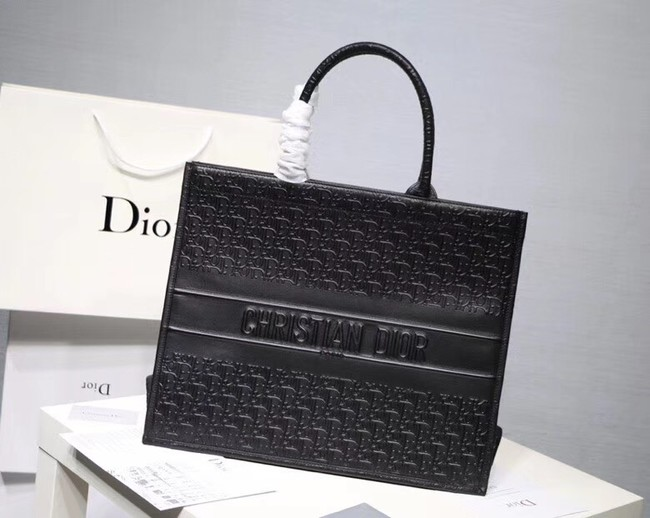DIOR BOOK TOTE BAG IN MULTI-COLOURED CALFSKIN M1286 black