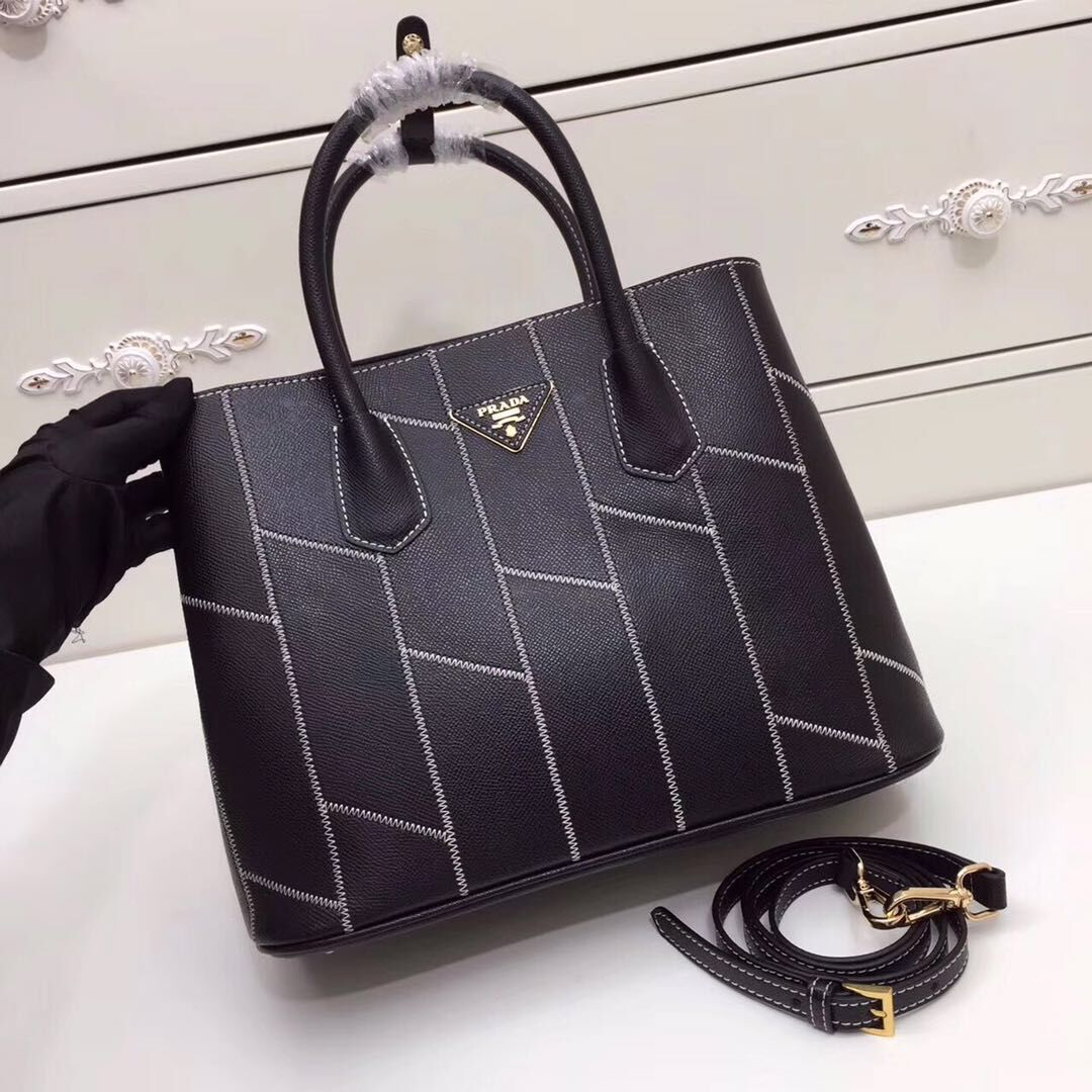 Prada Saffiano Leather Tote Bags 2757 Black