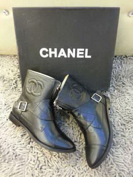 Chanel Calf Leather Ankle Boots CH1648 Black
