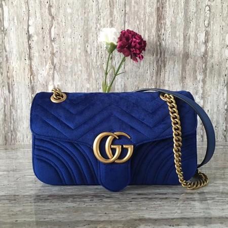 38b0e4c9022 Gucci 443497 GG Marmont Chevron Velvet Shoulder Bag Blue