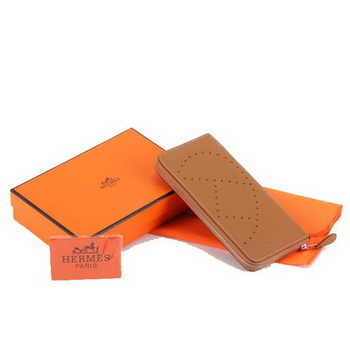 Hermes Togo Leather Perforated Zippy Wallet 9032 Coffee