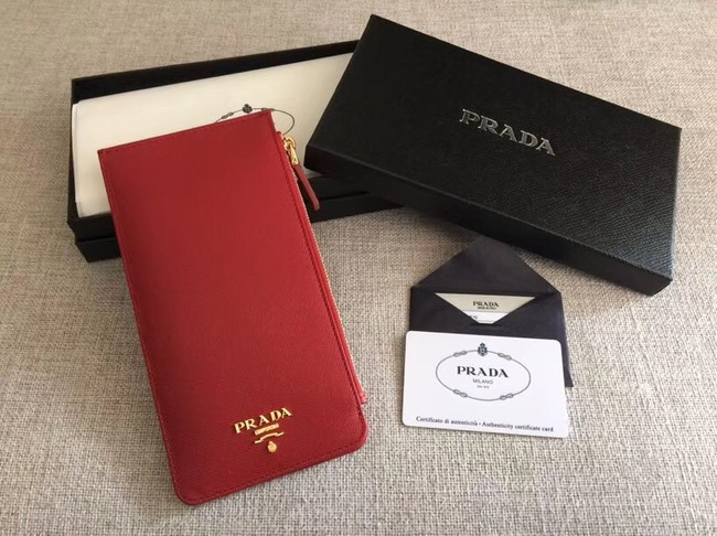 Prada Saffiano Leather Business Card Holder 1M1213 red