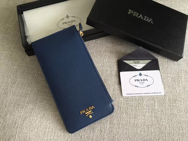 Prada Saffiano Leather Business Card Holder 1M1213 blue