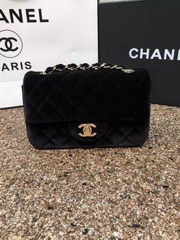 69b684d9050 Chanel mini Classic Flap Bag Original Black Velvet Leather A1116 Gold