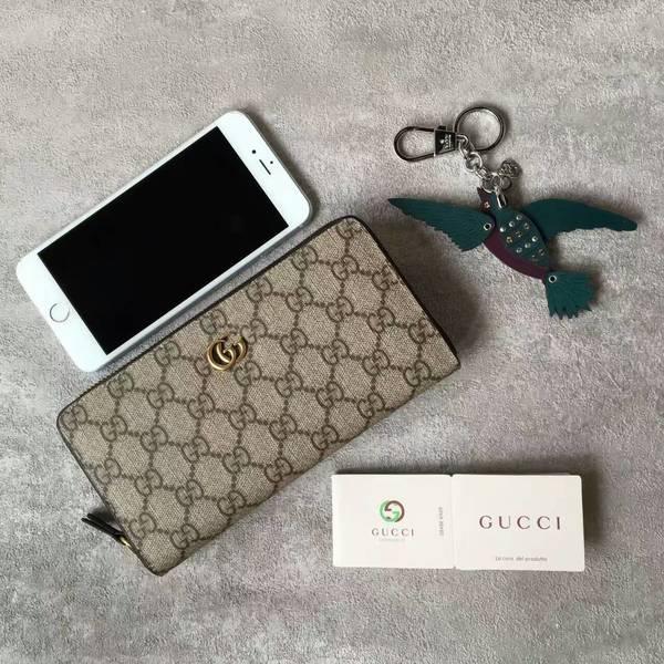 Gucci GG Canvas Leather Zip Around Wallet 68833 Black