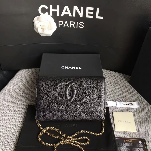 Chanel WOC Original Calfskin Leather Black Shoulder Bag 33814 Glod