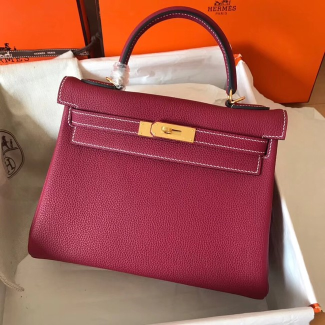 Hermes original Togo leather kelly bag KL320 fuchsia
