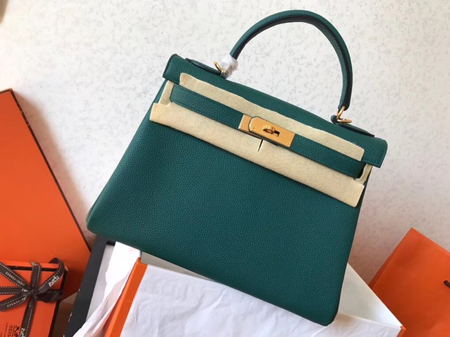 Hermes original Togo leather kelly bag KL320 green