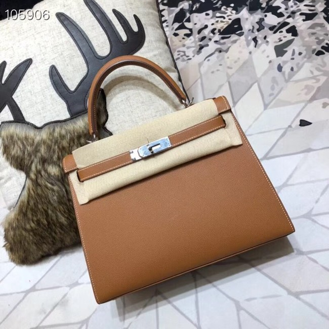 Hermes original Kelly Epsom Leather KL32 brown