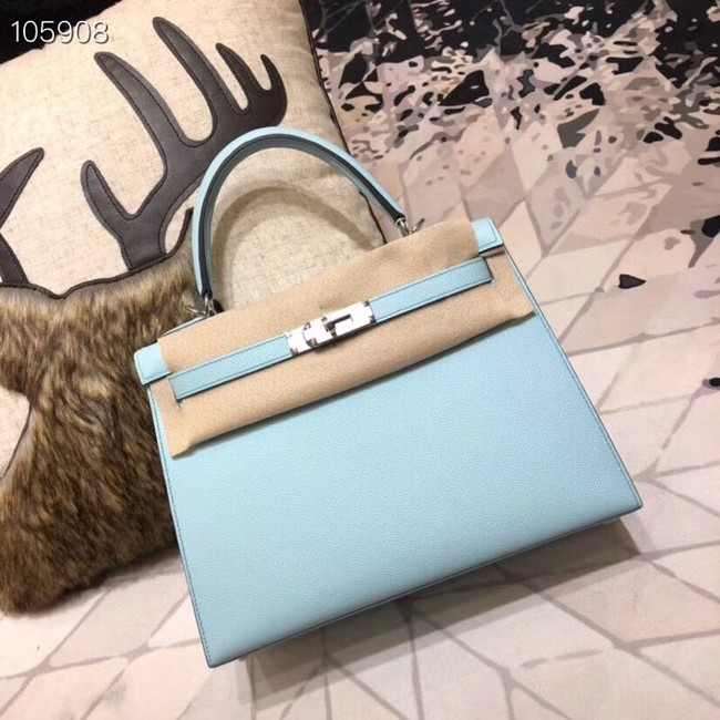 Hermes original Kelly Epsom Leather KL32 light blue Silver hardware