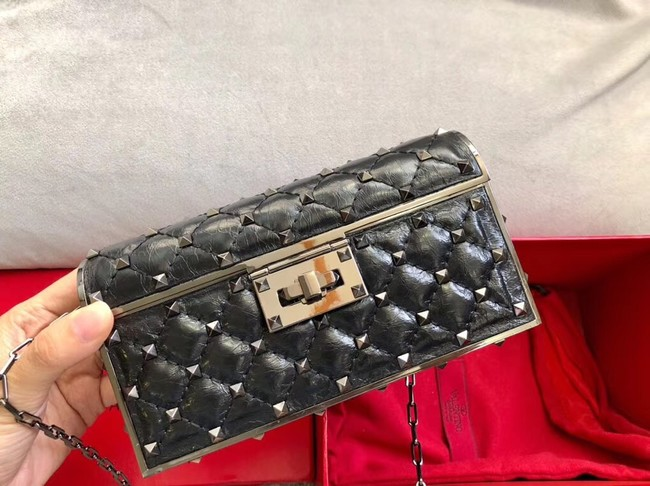 VALENTINO Rockstud quilted leather cross-body bag 0702 black