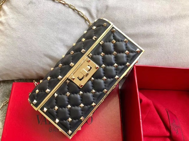 VALENTINO Rockstud quilted leather cross-body bag A0702 black