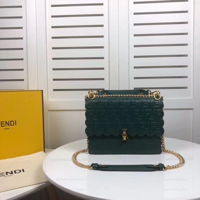 Fendi KAN I F leather bag 8BF053 green