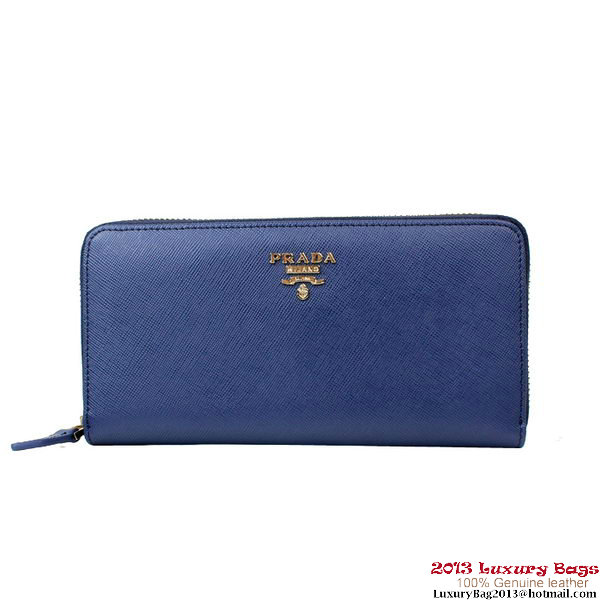 Knock Off 1M0506 Dark Blue Prada Saffiano Calf Leather Wallet