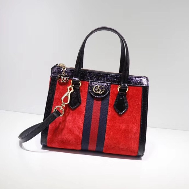 Gucci Ophidia small GG tote bag 547551 red suede