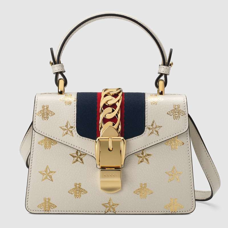 Gucci Sylvie Bee Star mini leather bag 470270 white