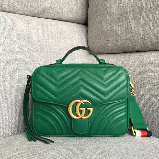 Gucci GG Marmont small shoulder bag 498100 green