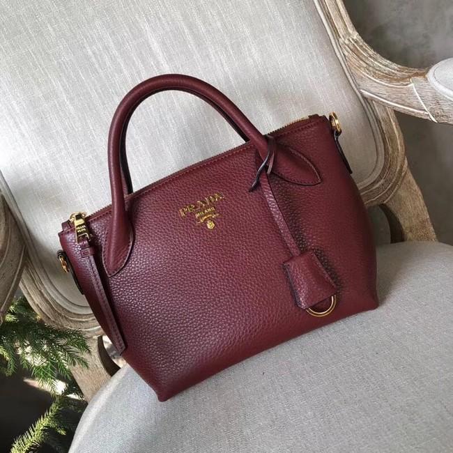 Prada Calf leather bag 1BH111 Burgundy