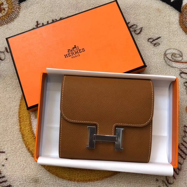 Hermes espom leather Wallet H2297 brown