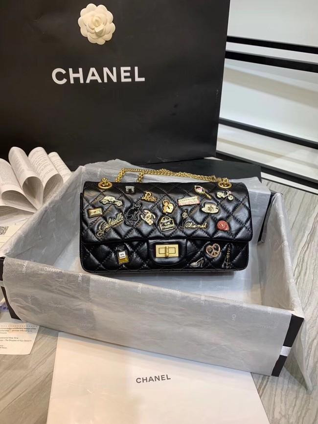 bd05653c5a87 Chanel 2.55 handbag Aged Calfskin, Charms & Gold-Tone Metal A37586 black