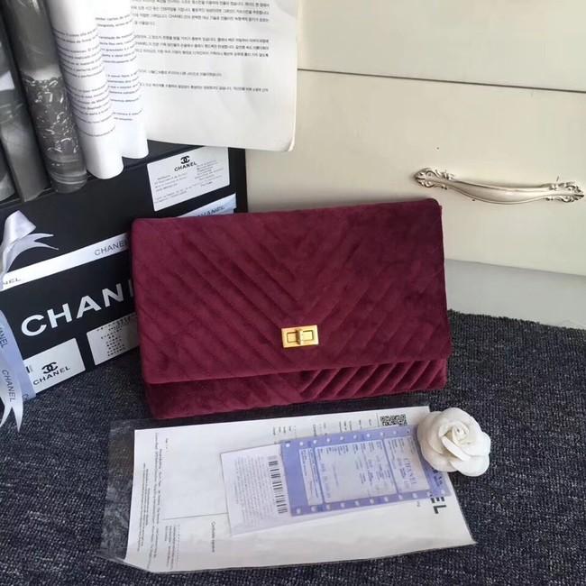 6f75af000e35 Chanel classic clutch velvet & Gold-Tone Metal 35629 Burgundy