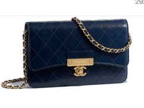 Chanel Calfskin & Gold-Tone Metal wallet on chain bag A81419 Royal Blue