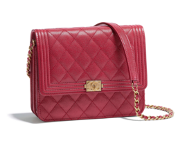 Boy chanel clutch with chain A84433 red