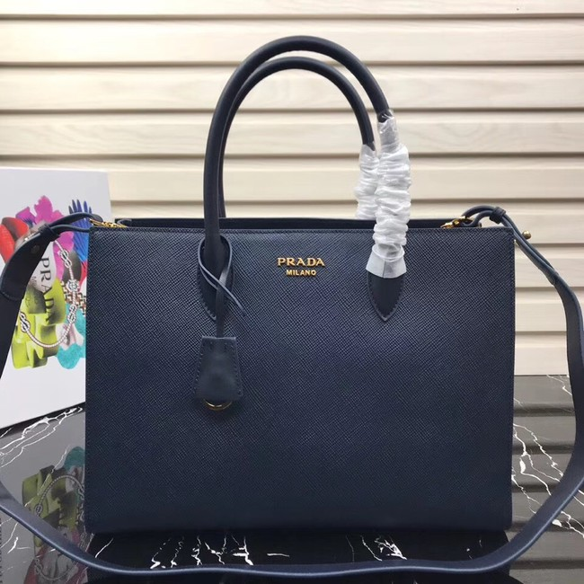 Prada Saffiano Leather Tote Large 1BA153 dark blue