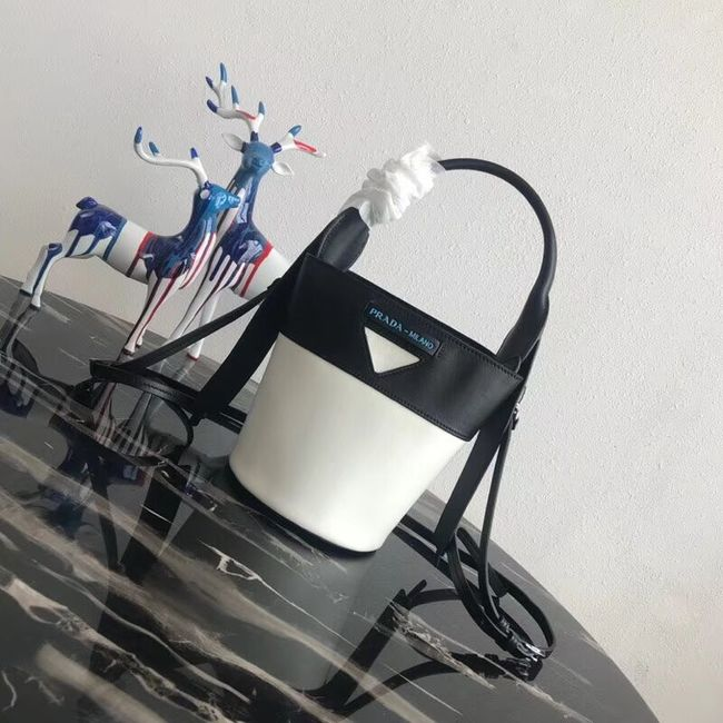 Prada Margit leather shoulder bag 1BE015 Black&white