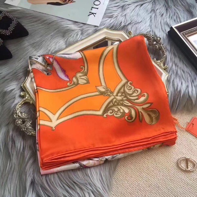 Hermes Scarf in silk twill with hand rolled edges H0032 orange