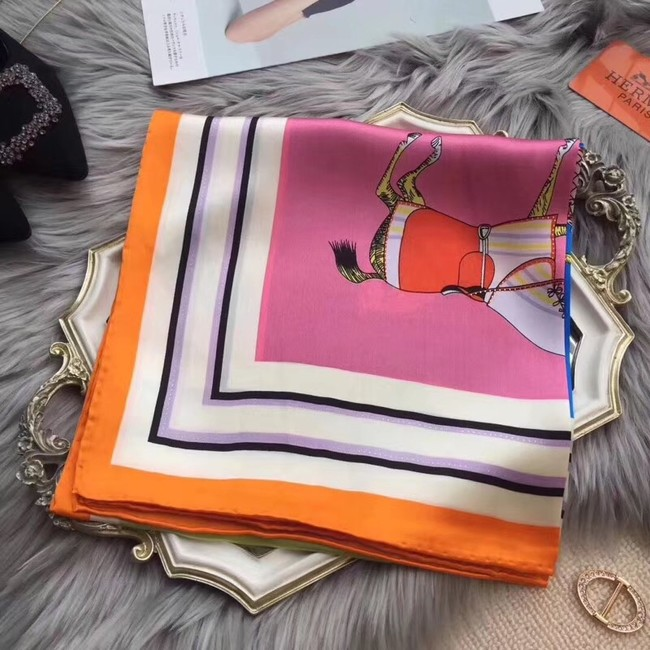 Hermes Scarf in silk twill with hand rolled edges H0032 orange&pink