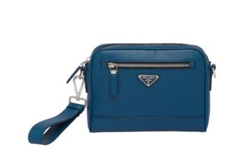 Prada Saffiano leather shoulder bag 2VH063 blue