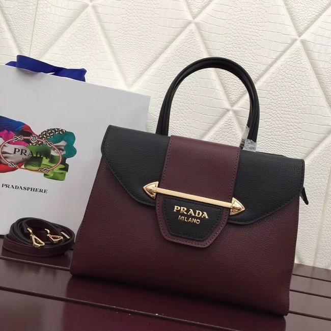 Prada Calf leather bag 13709 Burgundy
