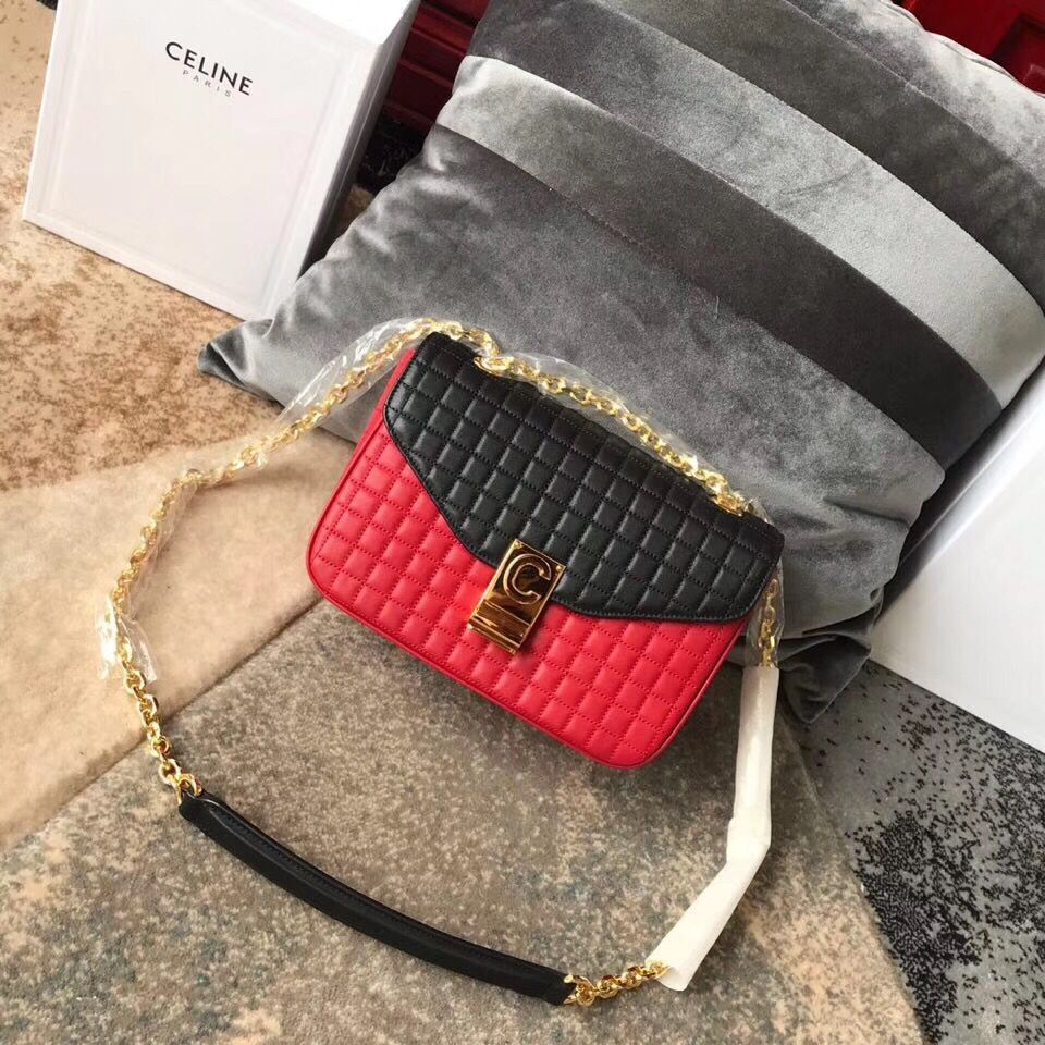 Celine Original Leather Shoulder Bag 187253 Red&Black