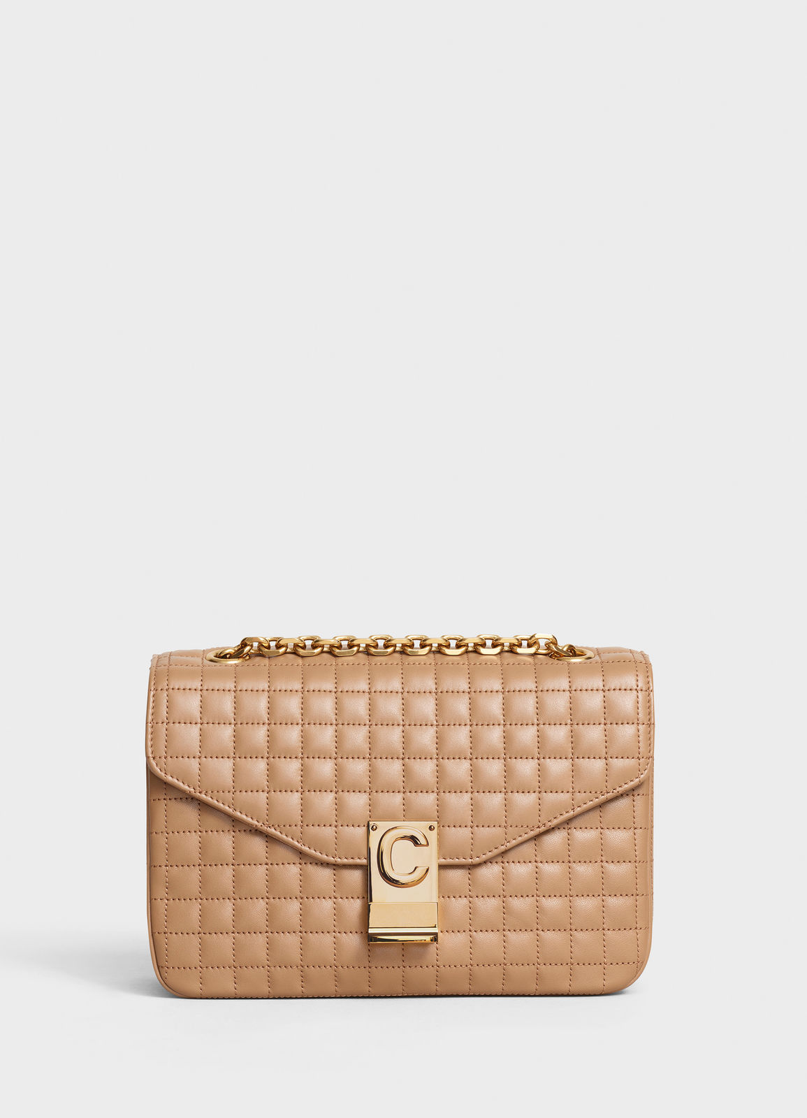 CELINE MEDIUM C BAG IN BICOLOUR QUILTED CALFSKIN CL87253 Camel