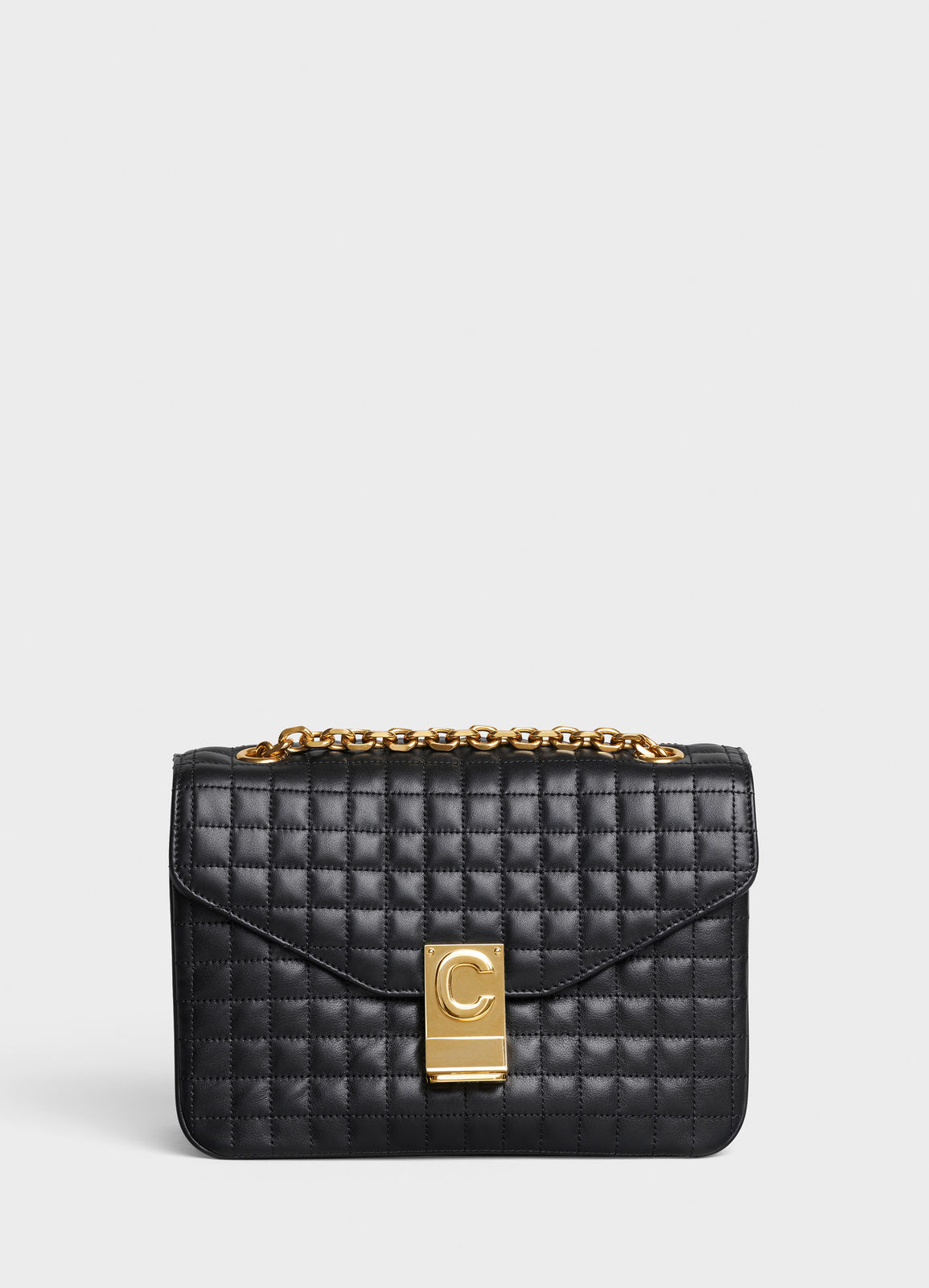 CELINE MEDIUM C BAG IN BICOLOUR QUILTED CALFSKIN CL87253 black