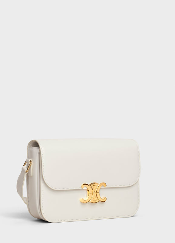 CELINE MEDIUM TRIOMPHE BAG IN SHINY CALFSKIN CL87363 WHITE