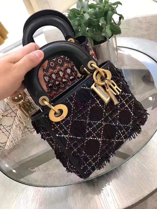 MINI LADY DIOR BAG IN EMBROIDERED CALFSKIN AM0505 black