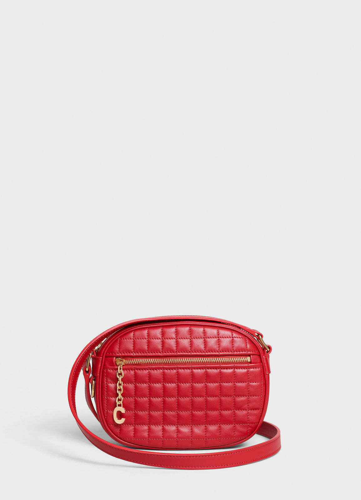 CELINE CROSS BODY SMALL C CHARM BAG IN QUILTED CALFSKIN 188363 RED