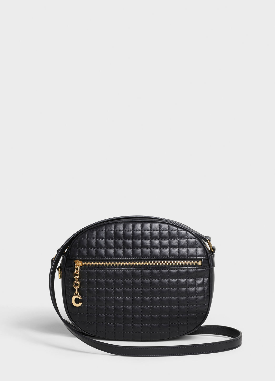 CELINE CROSS BODY MEDIUM C CHARM BAG IN QUILTED CALFSKIN 188353 BLACK