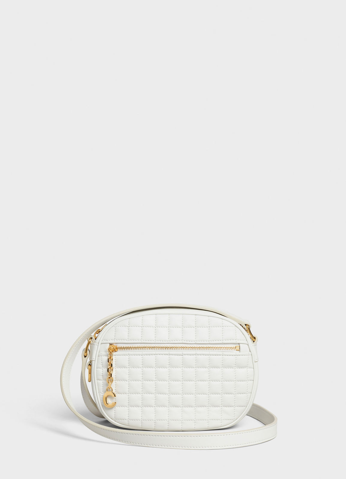 CELINE CROSS BODY SMALL C CHARM BAG IN QUILTED CALFSKIN 188363 WHITE