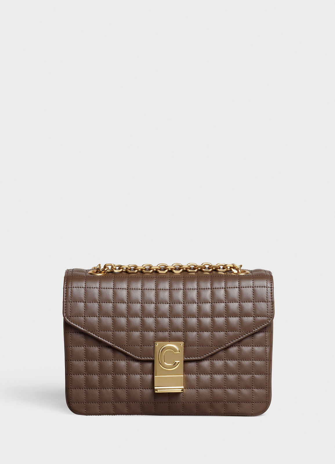 CELINE MEDIUM C BAG IN BICOLOUR QUILTED CALFSKIN CL87253 Khaki
