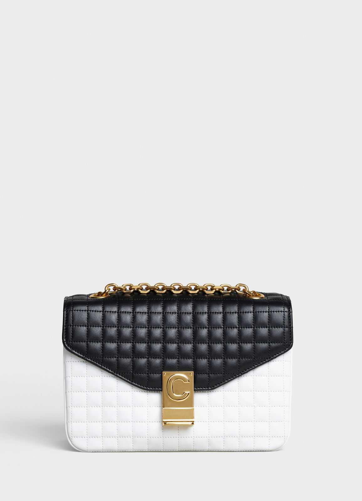 CELINE MEDIUM C BAG IN BICOLOUR QUILTED CALFSKIN CL87253 white&black