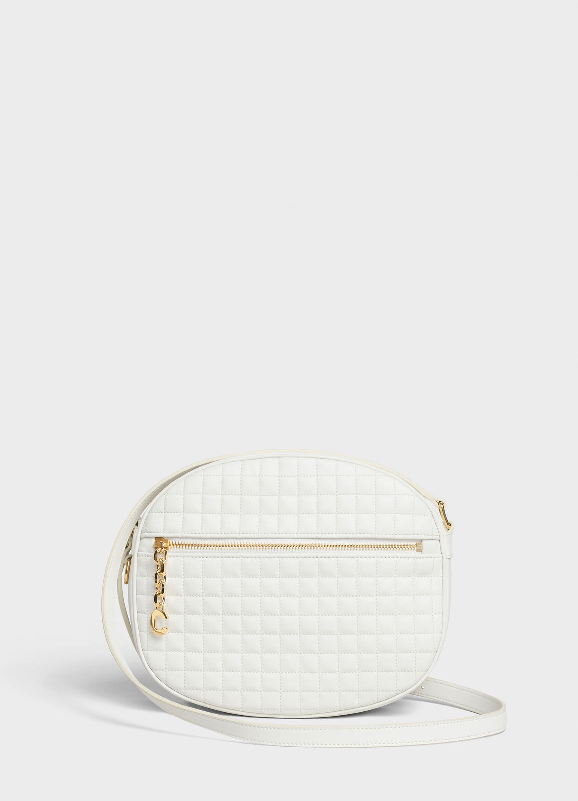 CELINE CROSS BODY MEDIUM C CHARM BAG IN QUILTED CALFSKIN 188353 white
